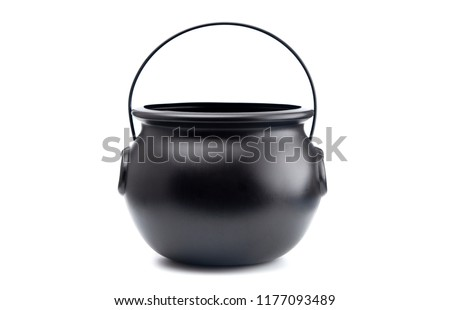 Black Cauldron For Witches on a White Background Royalty-Free Stock Photo #1177093489