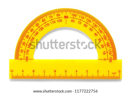 Platic Yellow Protractor Isolated on a White Background.