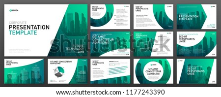 Business presentation templates set. Use for keynote presentation background, powerpoint template design, website slider, brochure cover design, landing page, annual report brochure, company profile. Royalty-Free Stock Photo #1177243390