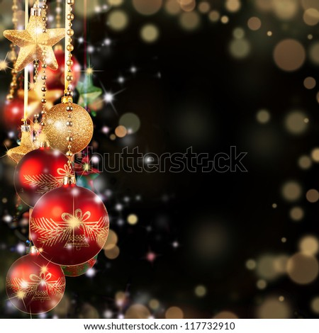 Christmas theme with red glass balls and free space for text #117732910