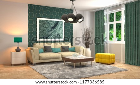 Interior of the living room. 3D illustration #1177336585