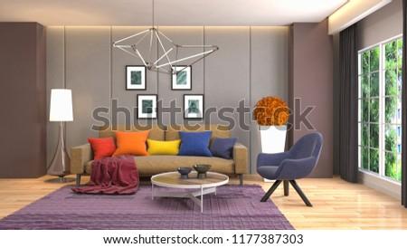 Interior of the living room. 3D illustration #1177387303