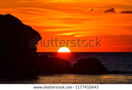 Sunset horizon sea water landscape. Sunset sea horizon panorama. Orange sunset sea horizon view at sunset #1177410643