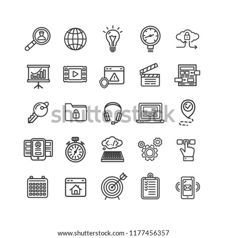 Search Engine Seo Black Thin Line Icon Set for Web and App. illustration