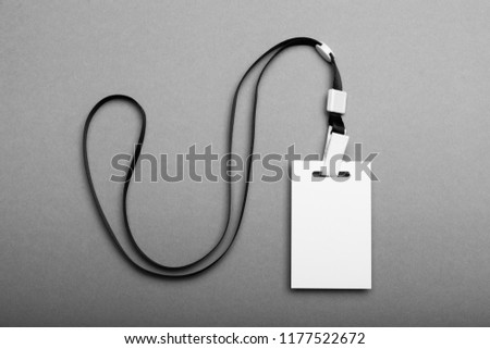 Empty badge name tag, business conference pass. Event lanyard mockup. #1177522672