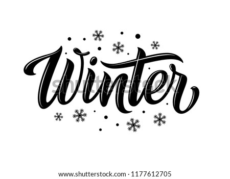 Winter. Snowflakes and snow with winter text, word and lettering. Winter concept, logo template and sign. Horizontal format. Vector illustration for print and web. EPS10. Royalty-Free Stock Photo #1177612705