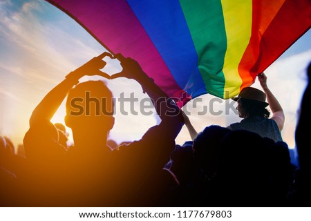 Pride community at a parade with hands raised and the LGBT flag.  #1177679803