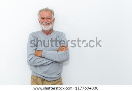 Portrait of healthy happy smile senior elderly caucasian old arm crossed with copy space isolated on white. Golden age healthcare cheerful lifestyle freedom relax retirement concept  #1177694830
