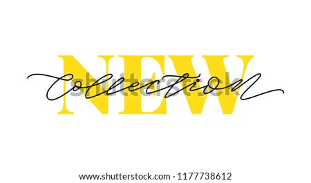 New collection yellow text on white background. Modern brush calligraphy. Vector illustration. Hand drawn lettering word. Design for social media, print lables, poster banner etc Royalty-Free Stock Photo #1177738612