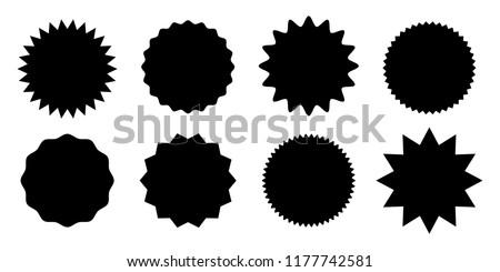 Promo sale starburst or sticker of sunburst label icon. Vector black star price tag or quality mark badge for blank template design #1177742581