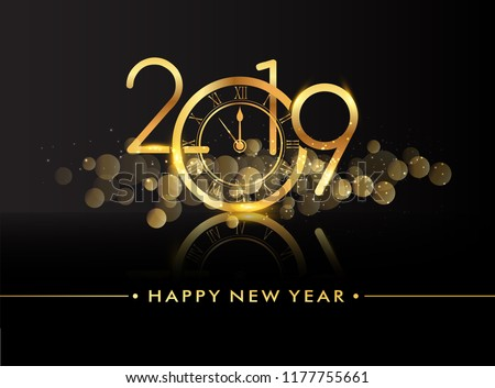 Happy New Year 2019 with glitter isolated on black background, text design gold colored, vector elements for calendar and greeting card. #1177755661