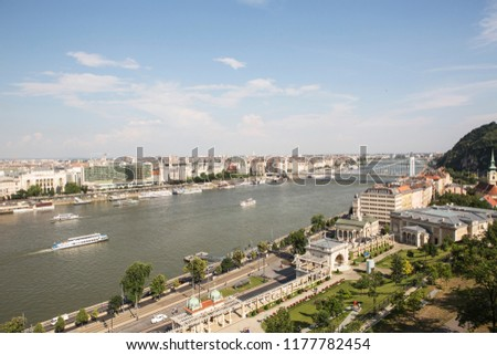 Traffic on Danube river in Budapest. The view at Elizabeth Bridge. #1177782454