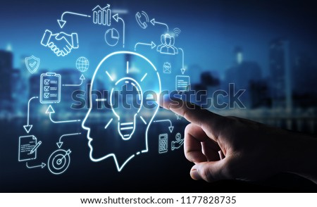 Businessman on blurred background using thin line icon project plan presentation #1177828735