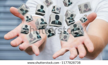 Businessman on blurred background choosing candidate for a job 3D rendering #1177828738