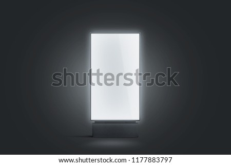Blank white glowing pylon mockup, isolated in darkness, 3d rendering. Empty luminous advertising panel mock up. Clear street banner front view. Outdoor sign poster template mokcup.
