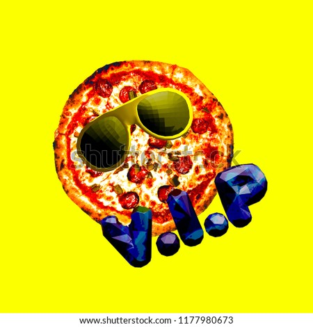 Contemporary art collage Pizza Vip. Fast food minimal project #1177980673