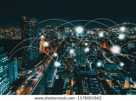 Network and connection technology concept with aerial view of Tokyo, Japan at night #1178001862