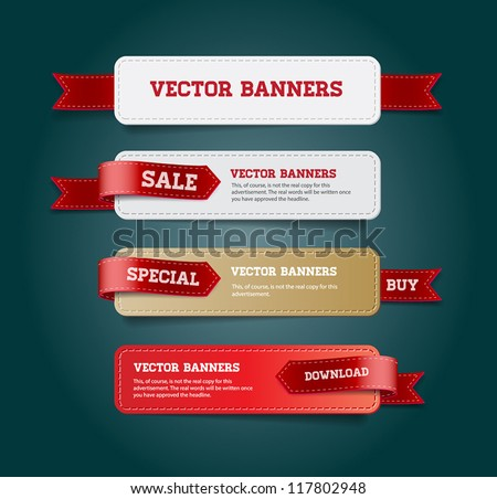 A set of vector promo banners decorated with red ribbon tags #117802948