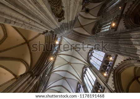 Cologne, Germany - July 07, 2018: Interior Cathedral Church of Saint Peter, Catholic cathedral in Cologne #1178191468