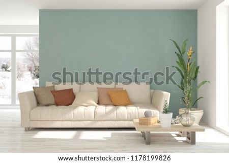 White modern room with sofa. Scandinavian interior design. 3D illustration #1178199826