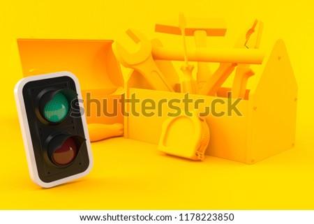 Hardware background with green light in orange color. 3d illustration #1178223850