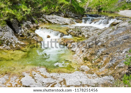 Crystal clear mountain stream waterfall in wilderness of Lower Austrian Alps. #1178251456
