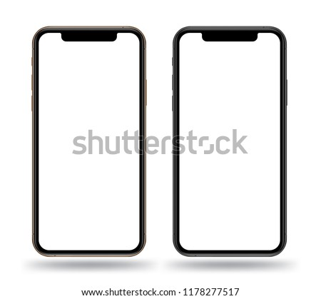 Realistic smartphones mockups gold and black color. Vector illustration for printing  game demo and application mockup.