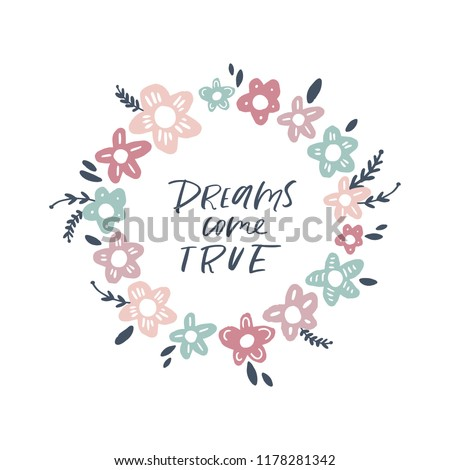 Vector frame template with flowers and typographic design elements. Good for Baby Shower invitation. Vector illustration #1178281342