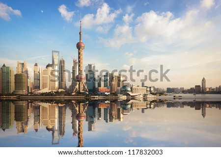 shanghai skyline at dusk with reflection,China