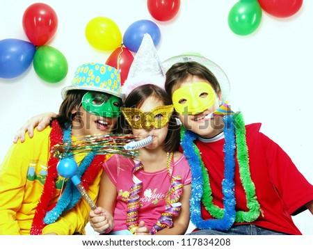 Three funny carnival kids portrait #117834208
