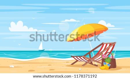 Vector cartoon style background of sea shore. Good sunny day. Deck chair and beach umbrella on the sand coast.  #1178371192