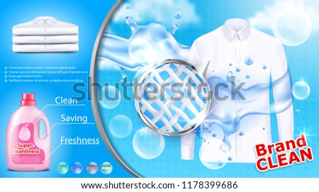 realistic banner with detergent stain remover in pink plastic bottle on blue background with white shirt soap bubbles and close-up of fiber structure. Mockup package design laundry detergent ad #1178399686