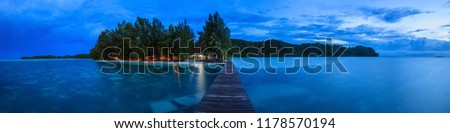 Panoramic picture of Carp Island on Palau in the twillight hour