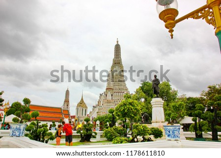 BANGKOK,THAILAND-26 AUGUST;2018: The foreigner tourist visit at Wat Aroon temple beside the Chaophraya river #1178611810