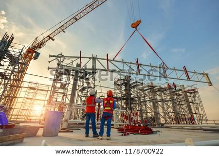 Construction worker truss installation #1178700922