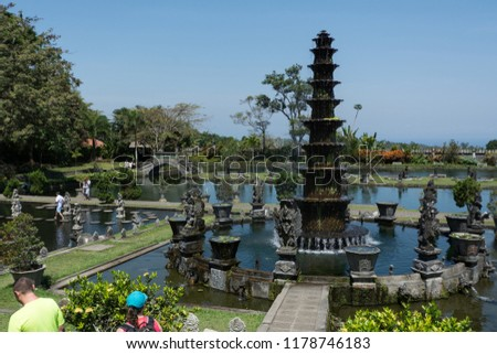 typical water temple tirtagangga at bali indonesia asia #1178746183