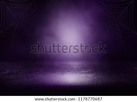Background of an empty room with smoke and neon light. Dark purple abstract background #1178770687