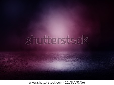 Background of an empty room with smoke and neon light. Dark purple abstract background #1178770756