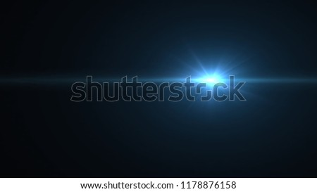 Illustration of bright light blue light and beam on a black space background #1178876158