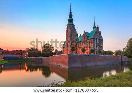 Rosenborg Castle or Rosenborg Slot at sunset, Copenhagen, capital of Denmark #1178897653