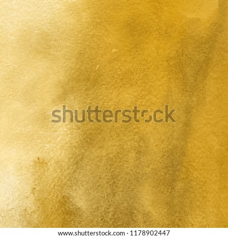 Luxury gold watercolor ombre leaks and splashes texture on white watercolor paper background. Natural organic shapes and design. #1178902447