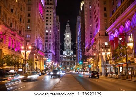 Night view of the Philadelphia city hall on Broad Street in Pennsylvania USA #1178920129