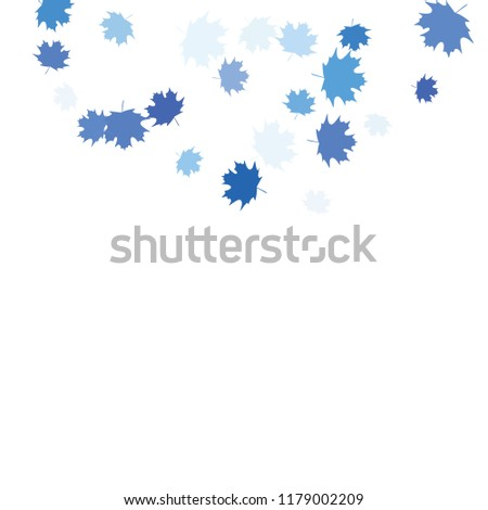 Confetti of multicolored leaves isolated on white background.Falling confetti from minimalistic maple leaves. Abstract leaf for label, card, poster, cover, leaflet, textile design. #1179002209