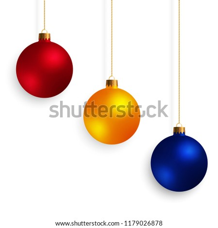 Set of Decorative Design Elements Christmas Balls Isolated on White Background. Kit of Yellow, Red, Blue New Year Baubles. #1179026878