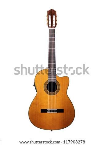 Isolated on white acoustic guitar #117908278