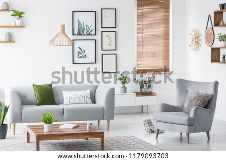 Real photo of a cozy living room interior with a sofa, green pillow, armchair, art gallery and wooden coffee table #1179093703
