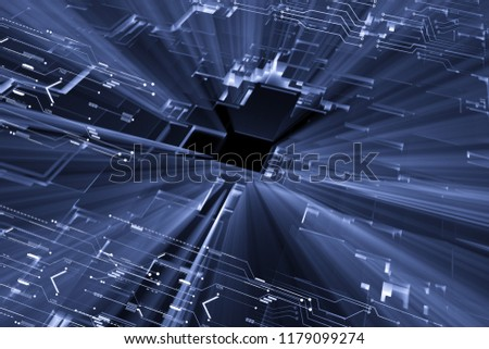 Burst of light blue digital matrix abstract technology background. #1179099274