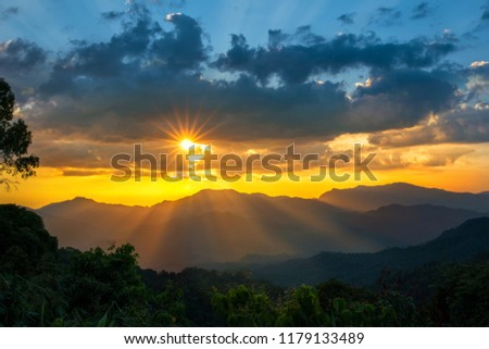 Sunray thought cloud from above show background dramatic 