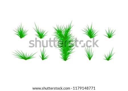 Set of Green grass. Green Grass White Background. Vector illustration #1179148771