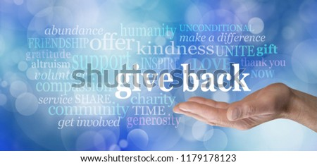 GIVE BACK word tag cloud - male hand with the words GIVE BACK floating above surrounded by a word cloud against a blue bokeh background                                  #1179178123